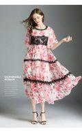 薔薇の服半袖ロングワンピース、ピンク薔薇のハイウエストドレス、ローズレディースロングドレスウェア005