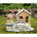 妖精の家フェアリーハウス、昔の懐かしい煙突の家と小屋、椅子と薪と瓶付き、ガーデニング雑貨グッズ、ガーデニングプランター小物004