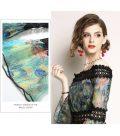レースの服七分袖ワンピース、孔雀柄と青と緑の薔薇柄のスリーブオフショルダードレス、レディースロングドレスウェア028