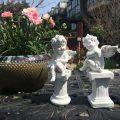 子供の天使エンジェル置物、柱の台座に座って微笑む天使たち、ガーデンエンジェルオブジェオーナメントhhdangel002
