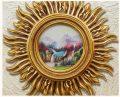 太陽の額縁絵画インテリア雑貨、金色と銀色の太陽額縁円形に風景絵画と静止画、インテリアピクチャーフレームhhdframe001