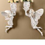 妖精壁掛け置物人形、お花の入った花瓶フラワーベースを持って飛んでいる二人の妖精セット、フェアリーオブジェオーナメントhhdfairy001