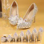 ウエディング3Dデコハイヒール靴、立体水晶花デコのついた透明クリアの結婚式ウェディングお嬢様系キラキララインストーンハイヒール、レディースデコレーションシューズsbrhinestone003