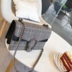 チェック柄チェーンバッグショルダーバッグ、白と黒色ホワイト&ブラックに赤いラインのチェック柄バッグ、レディースハンドバッグeudcheck002