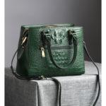 本革バッグショルダーバッグ、緑グリーンと黒ブラックのワニ型パターンの牛革バッグ、レディースハンドバッグeudleather002