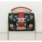 ラインストーンバッグビジューデコショルダーバッグ、スプリットレザーに花柄の刺繍をした大きいラインストーン花柄モチーフ装飾のハンドバッグ、レディースデコレーションバッグeudrhinestone002