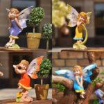 妖精置物のフェアリー人形、紫色、黄色、オレンジ色、水色の妖精人形、フェアリーオブジェ、オーナメントフィギアjsfairy001