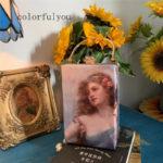 パーティーバッグ、ヴィクトリ朝バッグ、ヴィクトリアンバッグ、イブニングバッグ、薔薇バッグ、花柄バッグ、ピンク薔薇の花冠をしている女神の絵画ハンドバッグ、レディースバッグgfybpic003