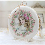 薔薇バッグ、花柄バッグ、天使バッグ、ヴィクトリ朝バッグ、ヴィクトリアンバッグ、クラッチバッグ、イブニングバッグ、チェーンバッグ、ショルダーバッグ、ピンク薔薇と女の子と天使のハンドバッグ、レディースバッグgfybpic006