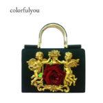 半立体天使バッグ、エンジェルバッグ、薔薇バッグ、デコレーションバッグ、3Dデコバッグ、ショルダーバッグ、黄金天使と赤い薔薇立体装飾のハンドバッグ、レディースバッグgfybpic008
