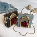 半立体薔薇バッグ、デコレーションバッグ、3Dデコバッグ、チェーンバッグ、ショルダーバッグ、金色額縁装飾に立体薔薇のハンドバッグ、レディースバッグgfybpic009