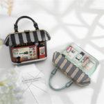ハウス型バッグ、ショルダーバッグ、屋根が可愛いお店の形をした2Dイラストのハンドバッグ、レディースバッグgfybpic010