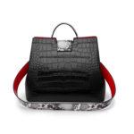 合成皮革バッグ、ワニ柄バッグ、ショルダーバッグ、黒色&赤色ブラック&レッドのワニ柄合成レザーハンドバッグ、レディースバッグlihosleather001