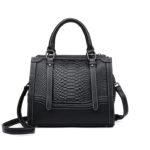合成皮革バッグ、ヘビ柄バッグ、ショルダーバッグ、黒色ブラックのヘビ柄合成レザーハンドバッグ、レディースバッグlihosleather003