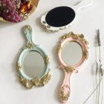 薔薇の手鏡、薔薇鏡、バラハンドミラー、金色の薔薇の化粧鏡、かわいい手鏡の木製鏡ウッドミラー、薔薇雑貨、バラグッズ、インテリア雑貨mebemirrow001