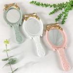 リボンの手鏡、リボン鏡、リボンハンドミラー、金色のリボンの化粧鏡、かわいい手鏡、リボン雑貨、リボングッズ、インテリア雑貨mebemirrow002