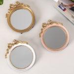 リボン卓上鏡、リボン鏡、リボン卓上スタンドミラー、金色のリボンの化粧鏡、可愛い鏡、リボン雑貨、リボングッズ、インテリア雑貨mebemirrow003