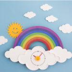壁掛け時計、インテリア掛け時計、デザイン時計、虹と雲と太陽のおしゃれ掛け時計、虹時計、レインボー時計、レインボーデザインウォッチ、虹雑貨、虹グッズ、インテリア雑貨tcticlock002