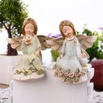 天使置物、天使人形、薔薇の花冠と薔薇柄ドレスを着てガチョウと遊ぶ天使、ウサギをだっこしているお座り人形のエンジェルフィギアオブジェ、エンジェル置物オブジェ、天使雑貨、オーナメントインテリア雑貨siyoangel001