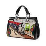 合成皮革バッグ、ショルダーバッグ、SL蒸気機関車と駅のホームのハンドバッグ、レディースバッグiPinillust002
