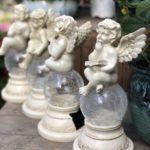 天使の女神、ガーデニング天使、ソーラー天使、庭のソーラーライト、天使置物、天使雑貨グッズ、ガラスの星の上に座る天使エンジェルオブジェ、オーナメントフィギア2点セットsh46angel002