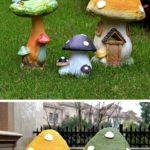 きのこ置物、キノコオブジェ、妖精の家、フェアリーハウス、きのこ雑貨グッズ、キノコの形をした家のオブジェsh46mush001