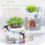 ペンギンの植木鉢、盆栽鉢、植物ポット、フラワーポット、動物置物、動物人形、アニマルオブジェ、動物雑貨、インテリア雑貨sh46flopot001
