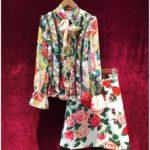 薔薇の服、牡丹の服、カラフルな花柄の長袖ブラウスと赤い薔薇とピンク薔薇のジャガード生地のスカート2点セット、バラローズファッション、ローズパーティードレスウェアsvorose009