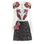 薔薇の服、牡丹の服、アニマル柄スカート、可愛いリボンとボタンが付いたジャガー柄スカート、赤い薔薇とピンク薔薇が刺繍されたレース長袖ブラウスにジャガーボタンの2点セット、バラローズファッション、ローズパーティードレスウェアsvorose010