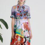 薔薇の服、薔薇ワンピース、薔薇ドレス、花柄の服、赤い薔薇の花にイラストプリントしたドレス、ローズパーティードレス、レディースドレスウェアseqilose001