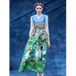 薔薇の服、薔薇七分袖ワンピース、薔薇ロングドレス、花柄の服、お花畑の中の赤い薔薇の花にイラストプリントしたドレス、ローズパーティードレス、レディースドレスウェアseqilose002