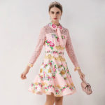 薔薇の服、薔薇長袖レースワンピース、薔薇ショートドレス、花柄の服、ピンク薔薇の花のレースドレス、ローズパーティードレス、レディースドレスウェアseqirose003
