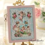 天使バッグ、エンジェルバッグ、パーティーバッグ、ヴィクトリ朝バッグ、ヴィクトリアンバッグ、イブニングバッグ、ショルダーバッグ、ピンク薔薇と天使絵画のチェーンバッグ、レディースバッグgfybpic011