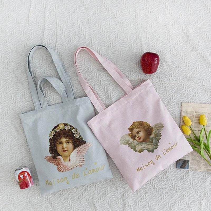 天使バッグ、エンジェルバッグ、キャンバスバッグ、キャンバス生地バッグ、トートバッグ、ショルダーバッグ、可愛い天使のハンドバッグ、レディースバッグ