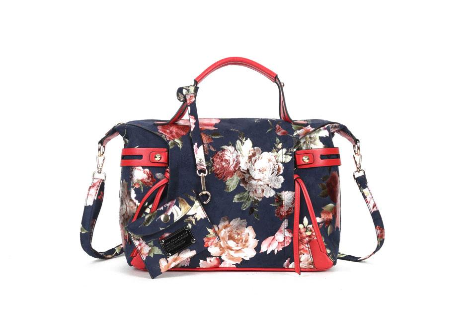 薔薇バッグ、花柄バッグ、トートバック、ショルダーバッグ、ピンク薔薇の花、ユリの花、ピンクローズ豪華な花柄のハンドバッグ、レディースバッグ