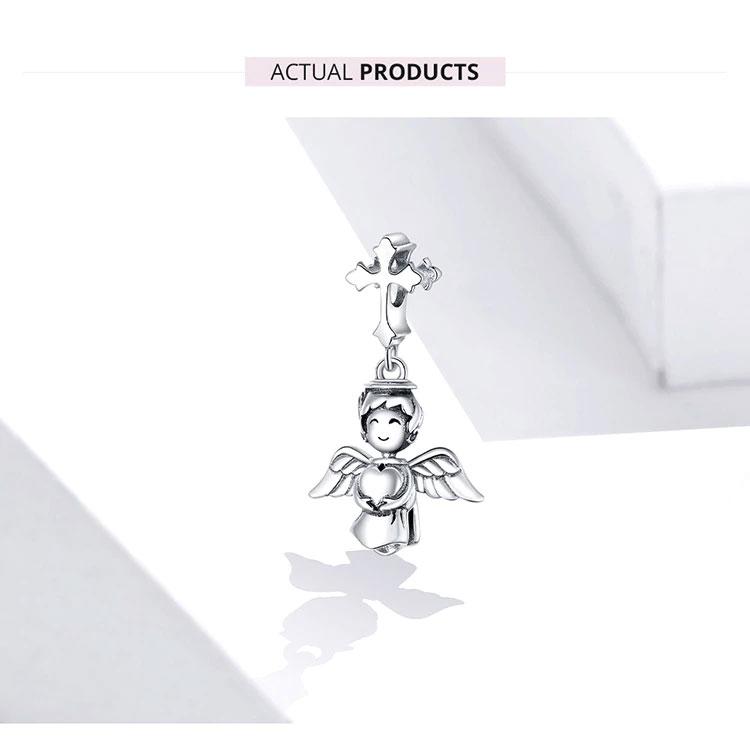 天使ペンダントトップ、十字架ペンダント、ブレスレットチャームアクセサリー、十字架とハートを両手で持っている天使スターリングシルバー925のペンダント、エンジェルペンダントジュエリー