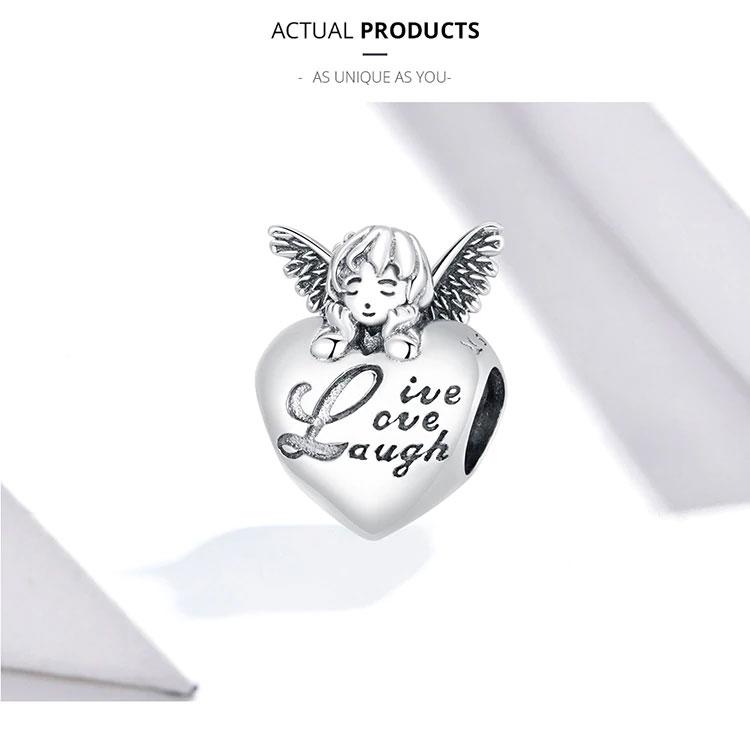 天使ペンダントトップ、ブレスレットチャームアクセサリー、ハートの上で翼を広げ目を閉じている天使スターリングシルバー925のペンダント、エンジェルペンダントジュエリー