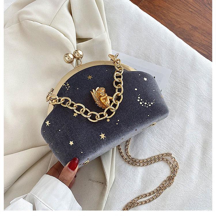 半立体天使バッグ、エンジェルバッグ、がま口バッグ、チェーンバッグ、星空の中で眠っている金色天使が装飾してあるコーデュロイのショルダーバッグ、クラッチバッグ、レディースパーティーバッグ