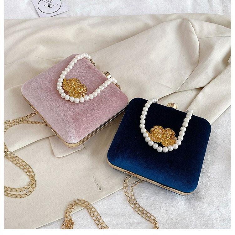 半立体天使バッグ、ツインエンジェルバッグ、がま口バッグ、人工真珠ハンドバッグ、星空の中で眠っている金色天使が装飾してあるコーデュロイのショルダーバッグ、クラッチバッグ、レディースパーティーバッグ
