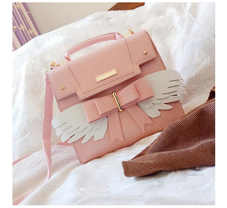 天使バッグ、天使の羽バック、エンジェルバッグ、金色の星が付いた白い天使の翼ショルダーバッグ、天使の白い羽ピンクハンドバッグ、レディースバッグ