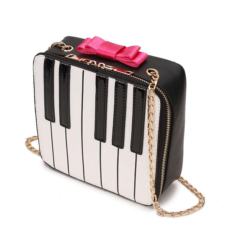 ピアノレッスンバッグ、ピアノバッグ、ピアノカバン、ピアノ鍵盤にピンクリボンのショルダーバッグ、チェーンバッグ、合成皮革バッグ、レディースバッグ