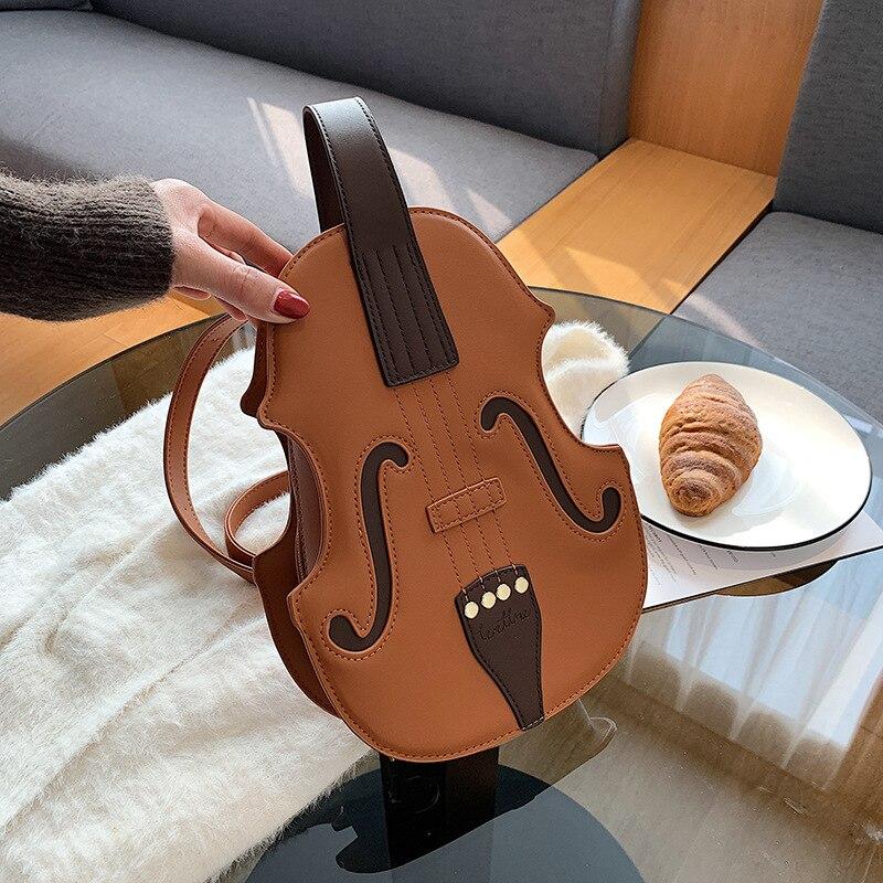 ヴァイオリンバッグ、バイオリン型バッグ、ヴァイオリンカバン、ヴァイオリン型をしたショルダーバッグ、ハンドバッグ、合成皮革バッグ、レディースバッグ