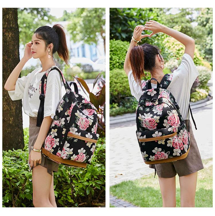 薔薇リュック、花柄リュックサック、ピンクローズ花柄と白い花のピンク薔薇バッグ、花柄バッグ、ハンドバック、化粧ポーチ、レディースバッグ