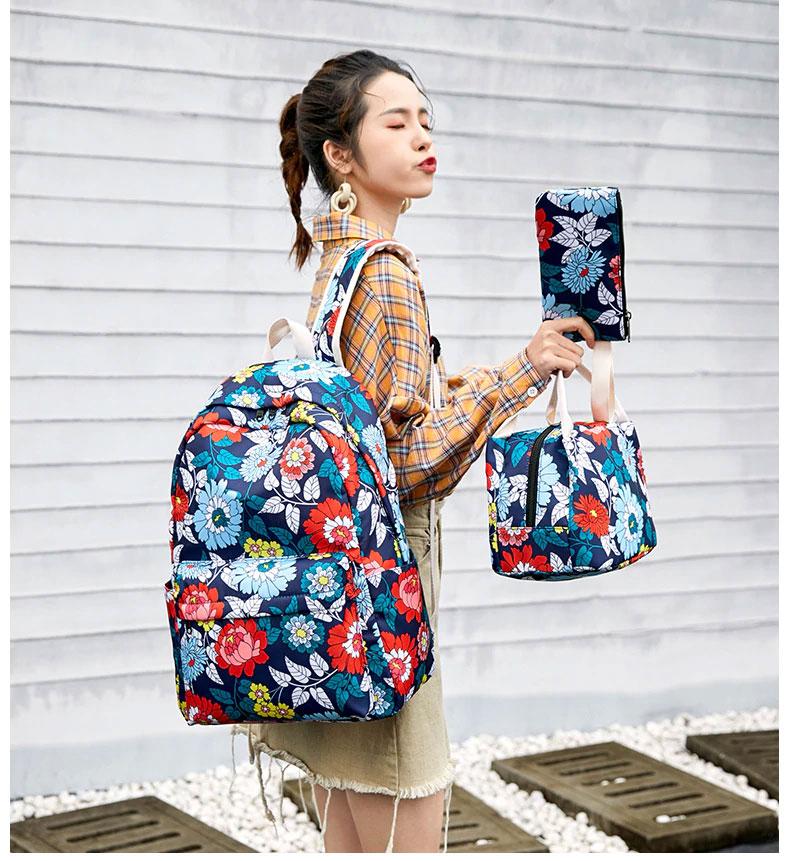 花柄リュック、花柄リュックサック、赤い花柄と青い花柄と黄色い花柄のフラワーバッグ、花柄バッグ、ハンドバック、化粧ポーチ、レディースバッグ