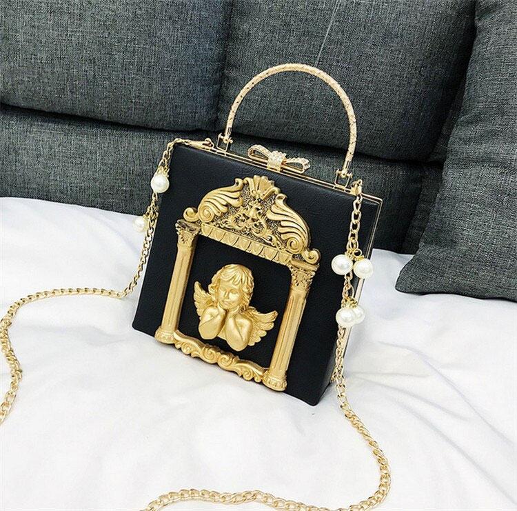 半立体天使バッグ、エンジェルバッグ、ショルダーバッグ、金色天使と白色天使とバラの天使バッグ額縁装飾、チェーンバッグ、ハンドバッグ、パーティーバッグ、レディースバッグ