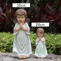 ガーデニング天使、天使置物、天使雑貨グッズ、目を瞑ってお祈りしている小さな天使と手を合わせてお祈りしている大きなガーデン天使人形、エンジェルオブジェ、オーナメントフィギア