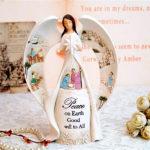 """<span class=""""title"""">天使置物のエンジェル人形、天使女神、目をつむって大きな翼を広げ手に八つ星を持って聖地エルサレムが彫刻されている天使人形、エンジェルオブジェ、オーナメントフィギアjsangel010</span>"""