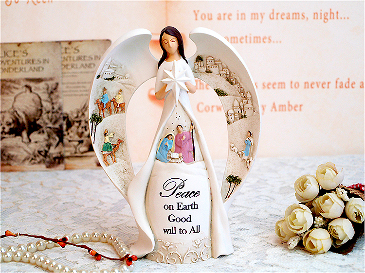 天使置物のエンジェル人形、天使女神、目をつむって大きな翼を広げ手に八つ星を持って聖地エルサレムが彫刻されている天使人形、エンジェルオブジェ、オーナメントフィギア