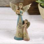 """<span class=""""title"""">天使置物、エンジェル人形、天使雑貨グッズ、翼を広げたお母さん天使が花束を持って子供天使が花を見つめている親子天使人形、エンジェルオブジェオーナメントフィギアqfhangel001</span>"""