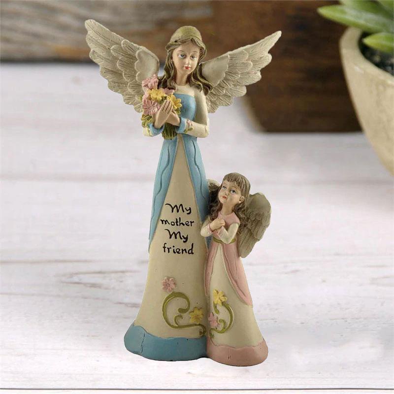 天使置物、エンジェル人形、天使雑貨グッズ、翼を広げたお母さん天使が花束を持って子供天使が花を見つめている親子天使人形、エンジェルオブジェオーナメントフィギア